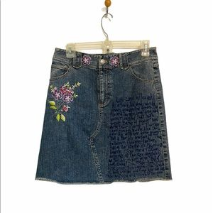 Harold's Upcycled Blue Jean Embroidered Skirt